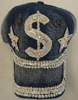 Denim Hat with Bling [$] Silver